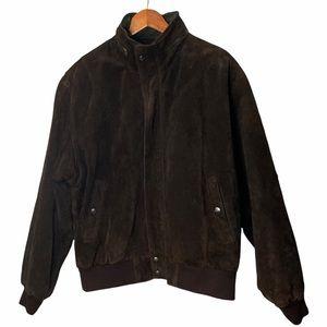 VTG Mirage Brown Suede Leather Bomber Jacket Sz XL